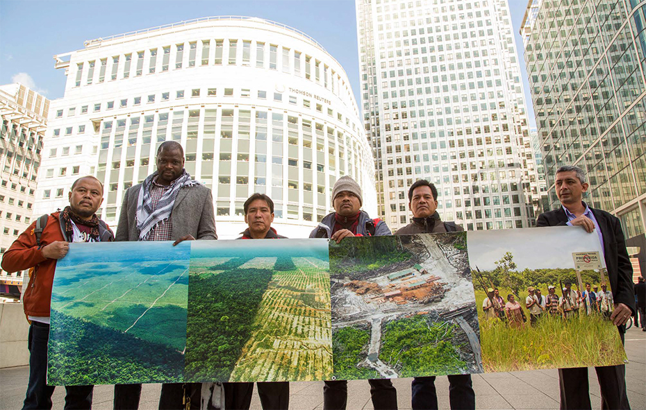Community leaders from Indonesia, Colombia and Peru visit Canary Wharf, London to call for greater regulation of global agribusiness trade and finance © 2016 Kingsley Uzondu , Environmental Investigation Agency.